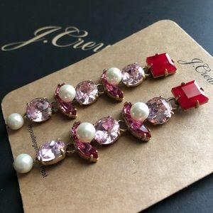 NWT J. Crew Crystal and pearl drop earrings
